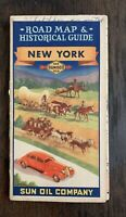 Vintage 1930's Sunoco Gas / Sun Oil New York Road Map / Historical Guide