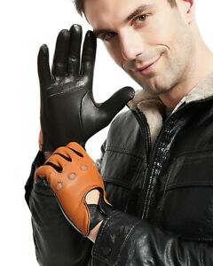 man combined brown and black color real leather motor short gloves