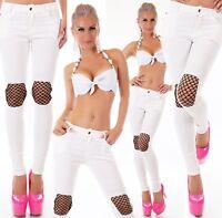 Mujer High Waist Vaqueros Tubo Skinny Denim Blanco Red Utilizar Cortar Stretch