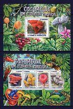 SAO TOME E PRINCIPE 2015 COGUMELOS EM FLORESTA TROPICAL MUSHRO PLANTS STAMPS MNH