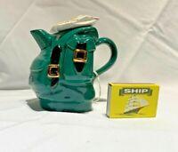 swineside teapottery  rucksack green teapot bnib