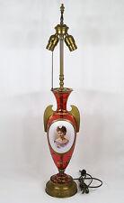Antique Bohemian Moser  Austrian Hand Painted Cranberry Glass Vase/Lamp c.1900