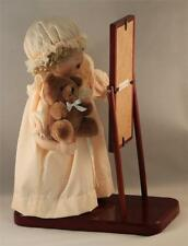 Porcelain Baby Doll with Full Length Mirror Wood Base Glass Eyes Vintage