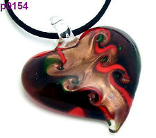 1pc heart Lampwork Glass Pendant Necklace p0154