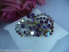 Brosche ✿ Blumenbouquet ✿ Lila-Violett STRASS Anstecknadel NADEL Kristalle
