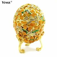 Gold Mediterranean Hollow style Easter Egg Jewelry Tinket Box Metal Crafts Gifts