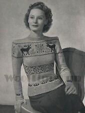 Vintage Knitting Pattern 1940s Lady's Reindeer Fair Isle Christmas Jumper.