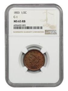 1853 1/2c NGC MS65 RB (C-1) Lovely Gem! - Braided Hair Half Cents (1840-1857)