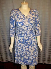 """Size 12 Chadwick's blue & white floral 3/4 sleeve wrap around """"look"""" dress"""
