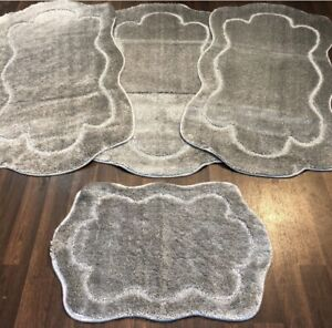 ROMANY GYPSY WASHABLES SETS OF MATS/RUGS GREY-SILVER SHAPED CARPETS NON SLIP