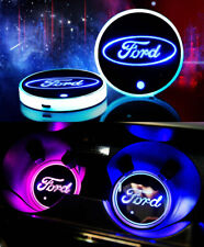 2PCS Car Cup Holder Pad LED Coaster Light 7 Colors USB Charging Mat for Ford