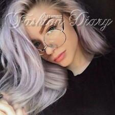 NEW SILVER ROUND LARGE CIRCLE GLASSES NERD OVERSIZED CLEAR LENS METAL EYEGLASSES