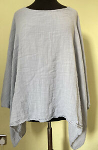 MADE IN ITALY Lagenlook Layered Tunic Top 16 18 20 Light Grey Muslin Cloth Arty
