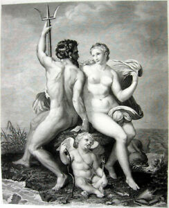 NAKED NUDE MAN GOD NEPTUNE CUTE WOMAN GIRL BREASTS ~ 1886 Art Print Etching RARE