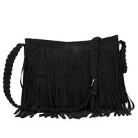 Schwarz Damen Schultertasche Wildleder-Tasche mit Fransen Umhängetasche Vintage
