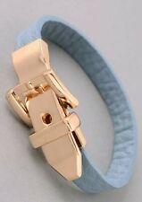 Baby Blue Belt Buckle Charm Leather Band Bracelet New/SDS