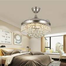 """Luxury Crystal Chandelier 36""""/42"""" Invisible Ceiling Fan Light 3-Color Led Remote"""