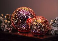 2 x LED Glass Orb Christmas Decorations - Starburst - Red #15R415