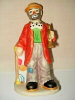 FLAMBRO 1984 EMMETT KELLY JR. CLOWN WITH TRUMPET AND TRUNK PORCELAIN FIGURINE