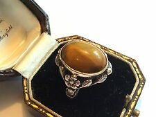 Vintage Arts & Crafts silver ring w tiger's eye, prob Bernard Instone