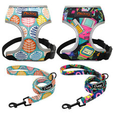 Soft Mesh Dog Harness leash set Reflective No Pull Dog Walking Collar Vest S M L