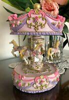 MUSICAL HORSE CAROUSEL pink pony Child Baby Newborn Christening Wind Up Keepsake