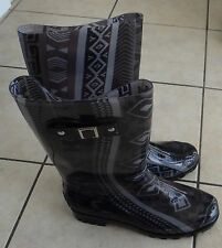NEW Austin Trading Co.gray/black geo print buckle side Rubber rain Boots,Women 9
