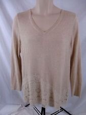 Chico's Womens V-Neck Sweater Medium Sz 1 Beige Lace Embellished Pull Over CB48V