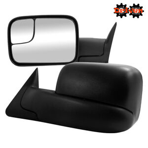 Manual Towing Extended Flip Up Side Mirrors 02-08 Dodge Ram 1500 2500 3500