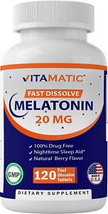 Vitamatic Melatonin 20 mg Fast Dissolve 120 Tablets - Natural Berry Flavor