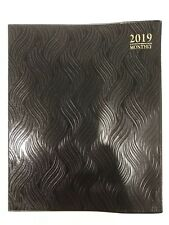 "2019 BLACK MONTHLY Day Planner Appointment Book Calender Organizer 8"" x 10"""
