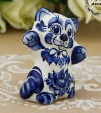 Cat Felix Souvenir Figurine Russian Folk Art Gzhel Porcelain 70 mm hand painted