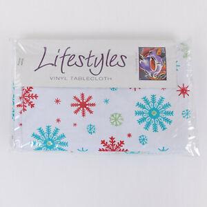 Lifestyles Vinyl Tablecloth 60 X 84 Oblong Aqua Snowflakes Bardwil Flannel Back
