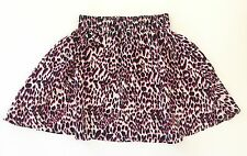 Womens H M Skirt w/ Leopard Animal Print Skirt Neon Pink White Black Size 4