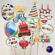 Kids Happy Birthday Party hat balloon Cake Selfie Photo Booth Prop Game Sign
