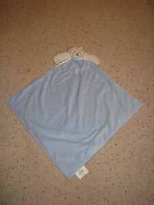 BLANKETS AND & BEYOND WHITE BLUE TEDDY BEAR SATIN SECURITY LOVEY MOON STAR