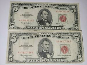 Two $5 Red Seal $5 Bills United States Note 1963