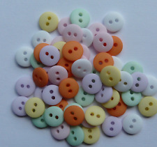 NEW PACK X 60 ASSORTED MATT PASTEL DOME  BUTTONS SIZE 14 (9mm) BABY CRAFT SEWING