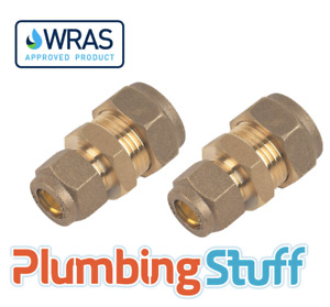 Reducing Connector - 15mm x 10mm Compression Brass Reducer - WRAS DOUBLE PACK