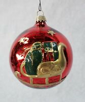 Vintage Rocking Horse and Sleigh Red Glass Christmas Ornament - Germany and Kc