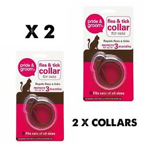2 x Cat Flea & Tick Collar Flee  3 Months Protection Stretch Fits All Size Cats
