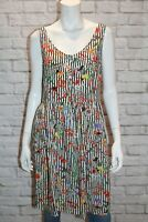 Dotti Brand White Striped Garden Floral Sleeveless Day Dress Size 12 BNWT #TO115