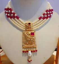 PEARLS RUBY NECKLACE 20K YELLOW GOLD HANGING BEADS WITH 4 LING STRING OF PEARLS