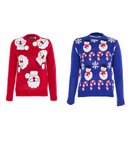 Unisex Kids Boys Girls Christmas SantaFace Snowman candy Novelty Xmas Jumper TOP