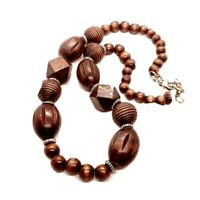 "Vintage 1980's Tribal Ethnic Wood Necklace, Chunky Beaded Dark Wood, 23"" Long"