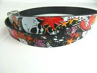 Mens Black Skulls Stars Designs Dice Genuine Leather Metal Buckle Belt New