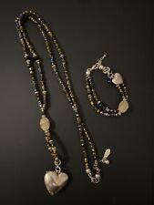 ZAZAZ Brown & Silver Long Heart Necklace & Bracelet Set Very Good Condition