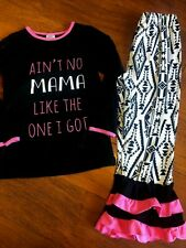 girls 2 PC MAMA OUTFIT set MOM ruffle pants SKIRT stretchy WORN ONCE XXXL sz 7/8