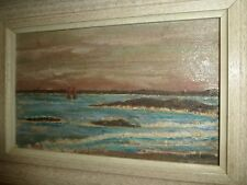 ANTIQUE CANADIAN MINIATURE OIL-BOARD PAINTING. SAILBOATS ON THE ST-LAWRENCE R.