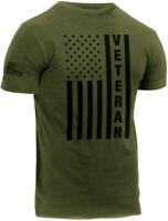 Olive Drab Veteran USA Flag T-Shirt US Army Military Vet Tee